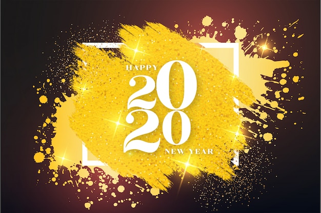 Modern happy new year background with golden frame