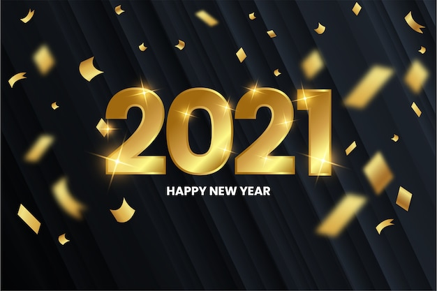 Modern happy new year background with golden numbers