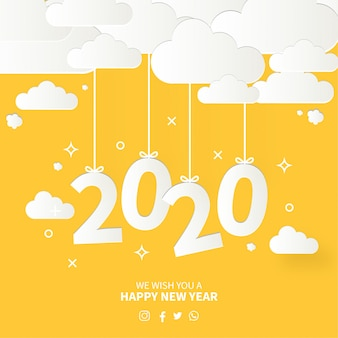 Modern happy new year card with flat design