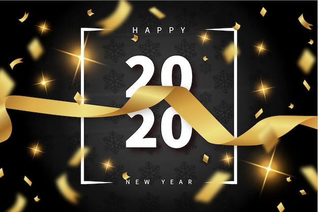 Modern happy new year card with gold ribbon