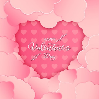 Modern happy valentine's day card with pink paper cut clouds