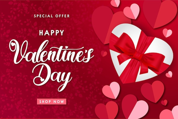 Modern happy valentine's day sale with realistic gift