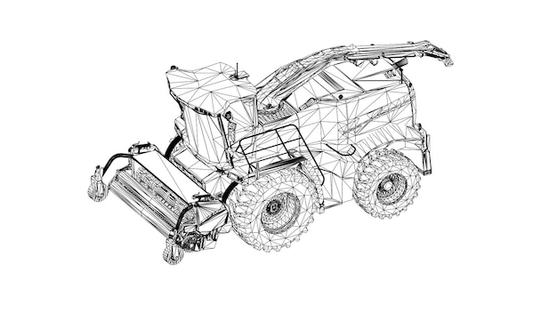 Modern harvester on a white background. abstract creative vector lines connected to points