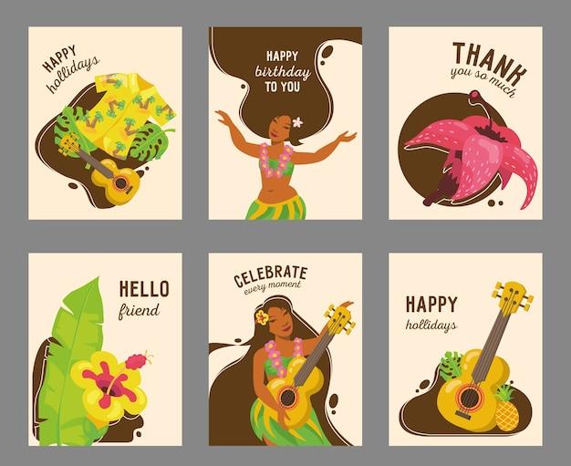 イラスト付きのモダンなハワイアンカードデザイン。ハワイの伝統的な要素とテキスト。夏休みと幸せな瞬間の概念