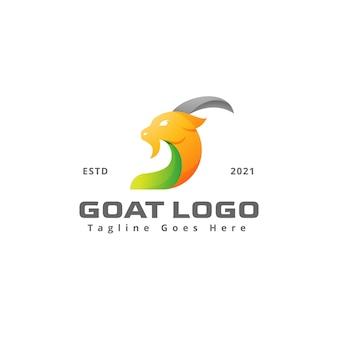 モダンな頭のヤギのロゴデザインテンプレート