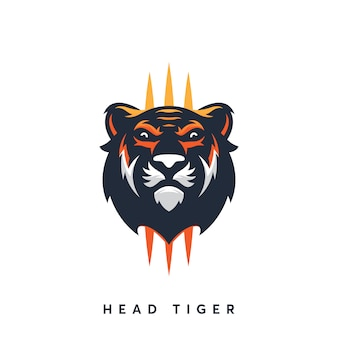 Modern head tiger logo design template