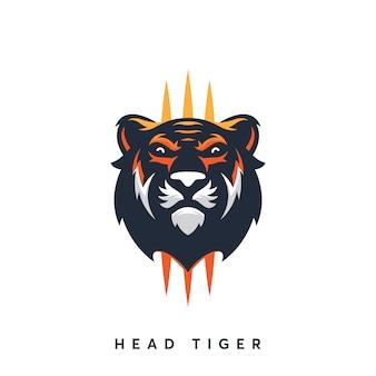 Шаблон дизайна логотипа modern head tiger