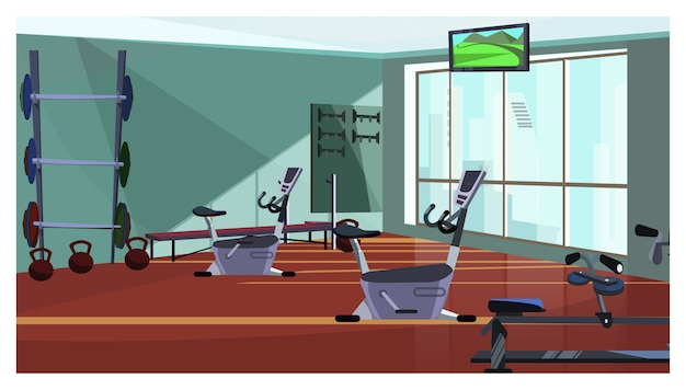 Modern health club with spinning equipment illustration