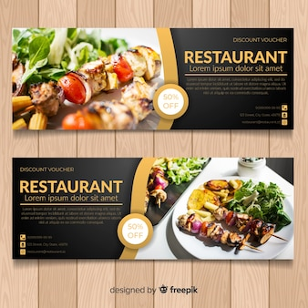 Modern healthy food banners with photo