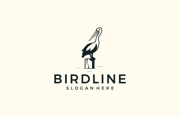 Modern heron logo silhouette