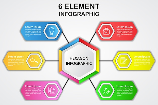 Modern hexagon 3d infographic diagram with 6 element