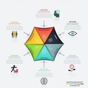 Modern hexagon business template.