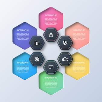 Modern hexagon infographic template