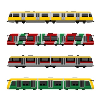 Modern high speed city subway trains  set