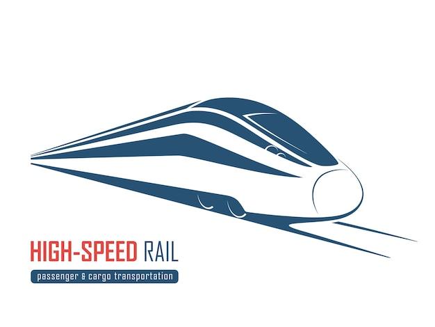 現代の高速鉄道のエンブレム、アイコン、ラベル、シルエット。ベクトルイラスト。