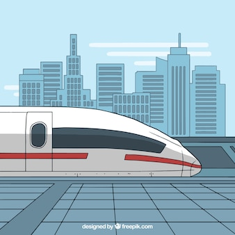 Modern high-speed train in the city