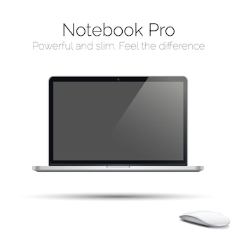 Modern highly detailed glossy laptop