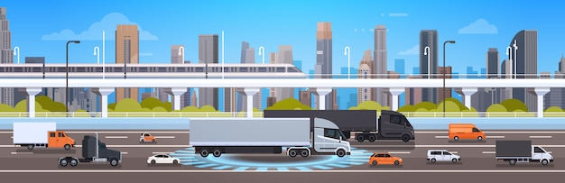 Modern highway road with cars, lorry and cargo trucks over city background traffic concept