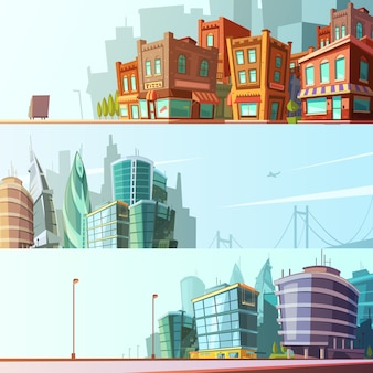 Modern and historical bay area street view day skyline horizontal background set cartoon isolated vector illustration