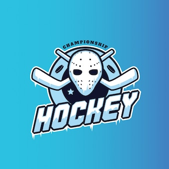 Modern hockey badge logo illustration