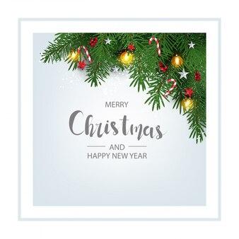 크리스마스 트리 분기와 현대 휴일 배경 딸기 장식