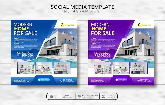 현대 주택 및 부동산 소셜 미디어 게시물 템플릿