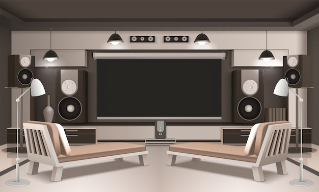Modern home cinema interior 3d design