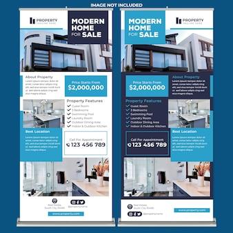 현대적인 디자인 스타일의 판매 롤업 배너 인쇄 템플릿을 위한 현대 주택