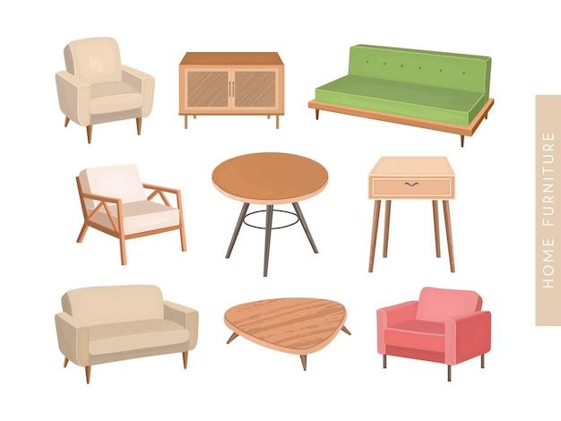 現代の家の家具の要素はイラストを設定します