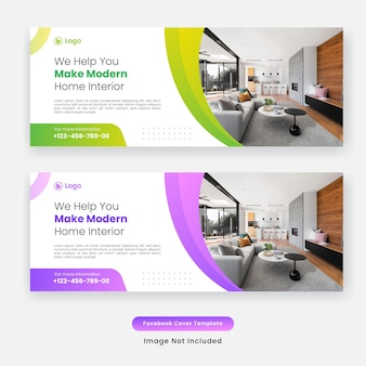 Modern home furniture facebook cover template banner