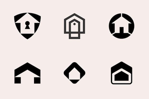 Modern home house logo type set