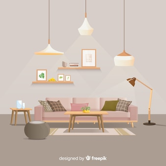 Modern home interior decoration with flat design
