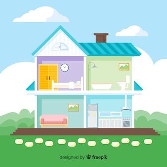 Современное домашнее украшение интерьера с плоским дизайном