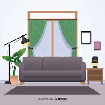 Modern home interior decoration with flat design