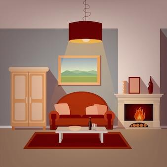 벽난로와 거실의 현대 홈 인테리어입니다. 집이 좋아