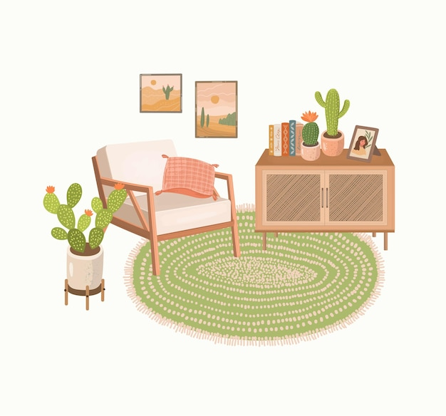 Modern home interior with armchair, credenza, rug, house plants