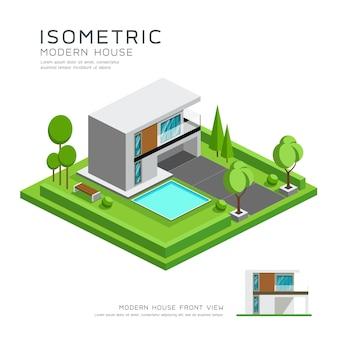 잔디 디자인 배경 벡터 일러스트와 함께 현대 가정 아이소메트릭