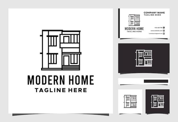 현대 홈 라인 부동산 로고 디자인 프리미엄 벡터