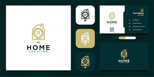 Modern home location logo design with line and business card