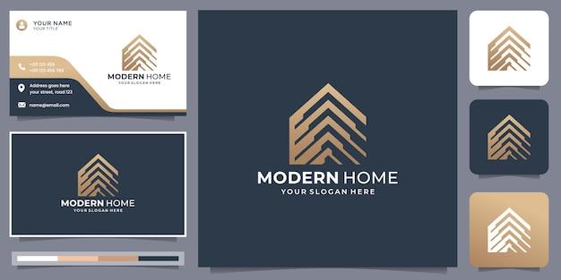 명함 템플릿 디자인이 있는 현대적인 홈 로고. 재산, 집, 집 및 건물 영감.