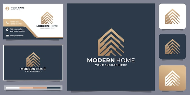 Modern home logo with business card template design. property, house, home and building inspiration.