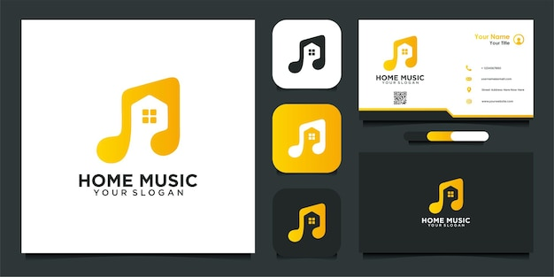 Modern home music logo design template and business card