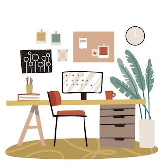 シンプルな家具を備えたモダンなホームオフィスのインテリアデザイン