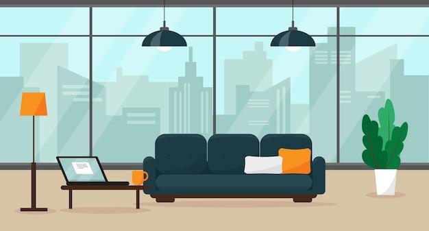 Современный домашний офис с большим окном и мебелью