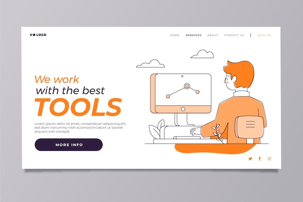 Modern home page template with man working