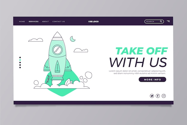 Modern home page template with rocket ship