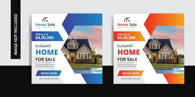 Modern home real estate insta social media post template set