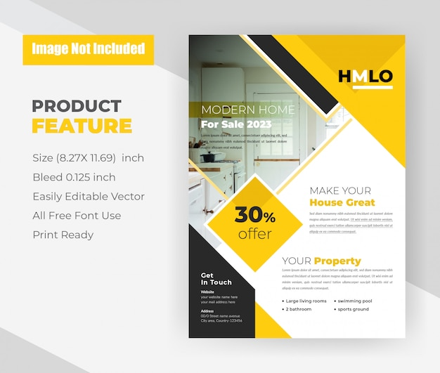Modern home for sale concept flyer template