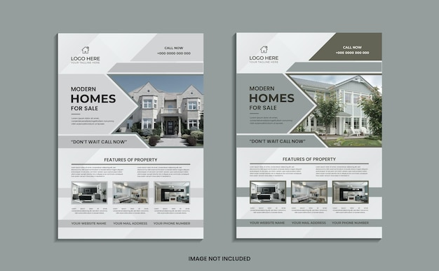 Modern home for sale flyer design with simple shapes and data.