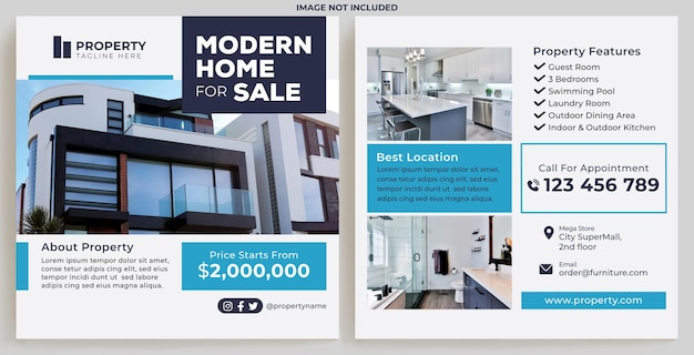 Modern home for sale promotion feed instagram in flat design style